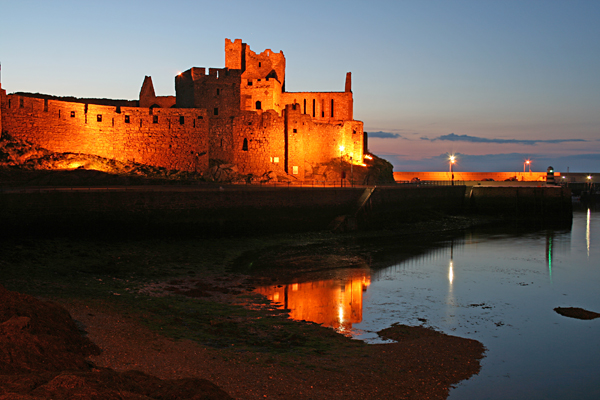 Peel Castle at dusk